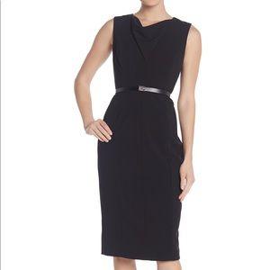 Black Calvin Klein wiggle sheath cowl neck dress 4